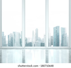 Bright office space with large windows