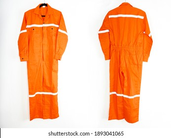 A bright orange  coveralls with a white reflector suitable for mechanics or firefighters, heavy fabrics, fire protection equipment and pattern protection.
