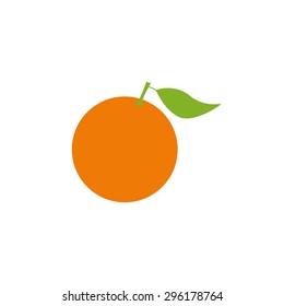 Bright orange fruit with big green leave isolated on white background. Logo template, design element, vegetarian menu decoration. Flat style illustration