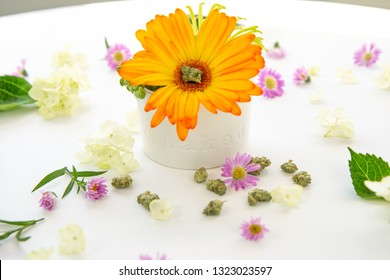 Bright Orange Gerbera Daisy Floral Arrangement in Ceramic Dish with Words Baked with Cannabis Buds and Marijuana Nug on White Table - Cannabis Wedding