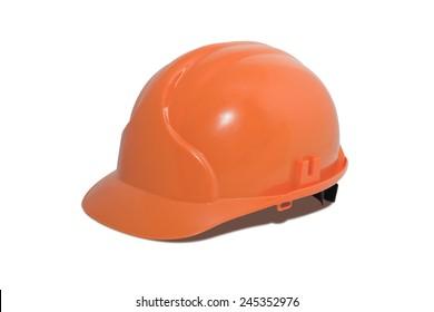 Bright orange hardhat isolated over white background
