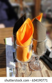 Bright orange napkins  set for skiers lunch at a resort in Avoriaz, France