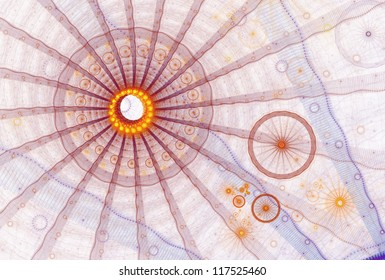 Bright orange, red, yellow and blue abstract wheel design on white background
