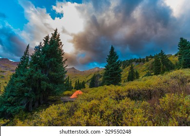 Bright Orange Tent Conundrum Hot Springs Colorado Rockies