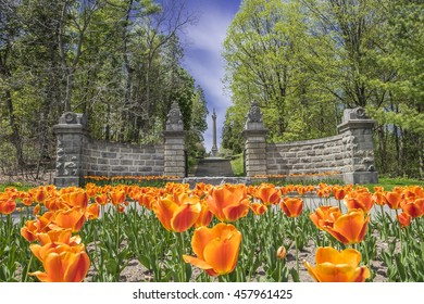 Bright orange tulips at the entrance to the Brock's Monument at Queenston Heights in Queenston Ontario Canada.