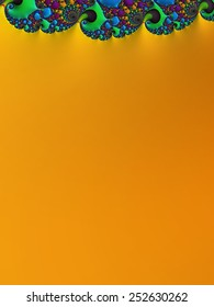 Bright orange wedding invitation background with colorful ornate top