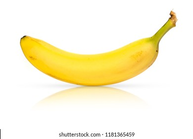 Bright Organic Yellow Banana on White Background with Reflection