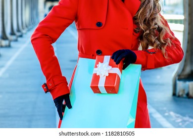 Bright in Paris. trendy woman in red trench coat on Pont de Bir-Hakeim bridge in Paris with shopping bag and Christmas present box looking into the distance