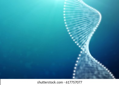 A bright particulate 3D rendered DNA  on a blue bokeh background.