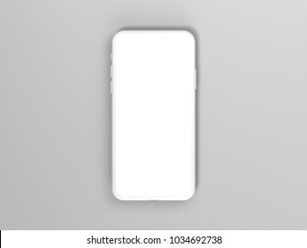 Bright phone mockup isolated on gray background. 3d rendering