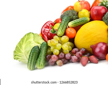 Bright photo useful vegetables and fruits isolated on white background. Agriculture product