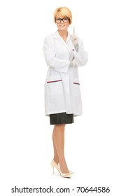 bright picture of attractive female doctor over white