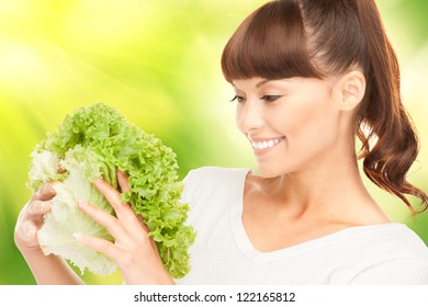 bright picture of beautiful housewife with lettuce