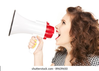 bright picture of beautiful woman with megaphone