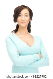 bright picture of calm and friendly woman