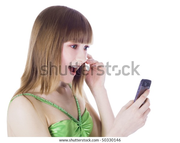 Bright picture of happy blonde with cell phone