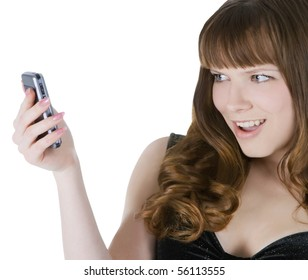 Bright picture of happy brunette with cell phone