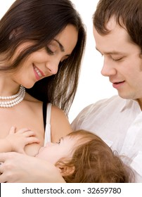 bright picture of happy family over white (focus on mother)