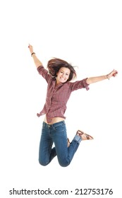 bright picture of happy jumping smiling woman in red shirt