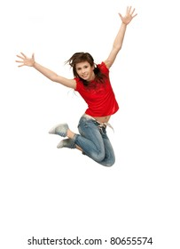 bright picture of happy jumping teenage girl