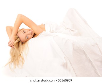 bright picture of laying in bed lovely woman