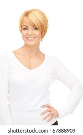bright picture of lovely business woman over white