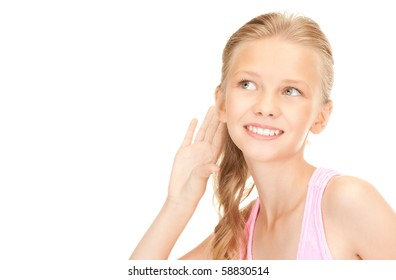bright picture of lovely girl listening gossip