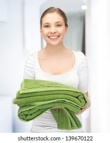 bright picture of lovely girl with towels.