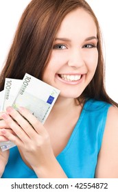 bright picture of lovely teenage girl with money