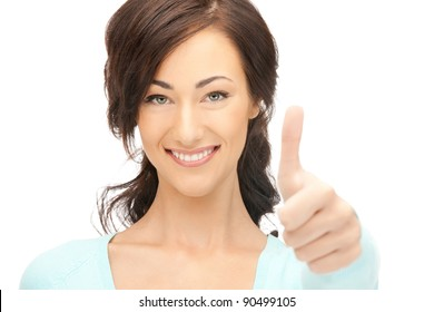 bright picture of lovely teenage girl with thumbs up