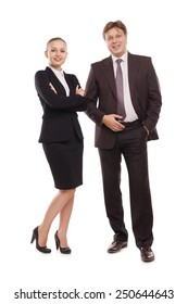bright picture of man and woman in formal clothes. Isolated over white background.
