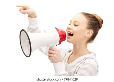 bright picture of teenage girl with megaphone