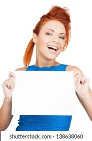 bright picture of woman showing white blank board