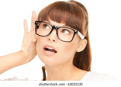 bright picture of young woman listening gossip