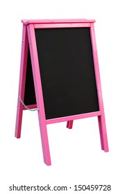 Bright Pink Blackboard mounted in an A Frame signboard also known as a sandwich board with chalkboard area blank for insertion of your own custom message