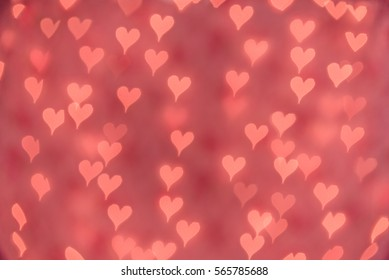 Bright Pink Heart bokeh background. Modern, abstract flat design for card or website.