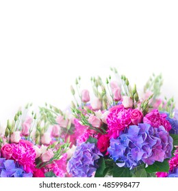 Bright pink peony, eustoma and blue hortensia flowers border over white background