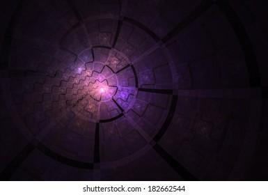 Bright pink / purple abstract zig-zag disc / spiral design on black background