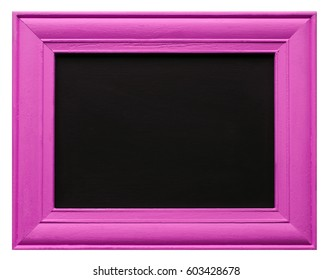 Bright pink wooden picture frame with blank blackboard inner, isolated on white background, with design / text / copy space.