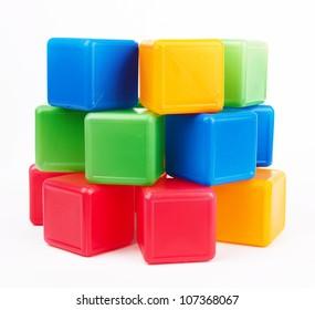 bright plastic blocks on a white