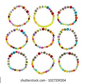Bright plastic bracelets for girls with slogans