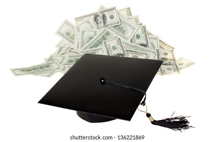 Bright prospects for people with education. Cap graduate before the mountain of money
