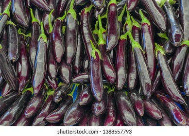Bright purple eggplant in the central market of Canakkale, Turkey