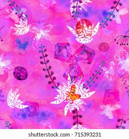 Bright purple pink seamless pattern with marine plants, leaves and seaweed. Hand drawn flora in watercolor style. Raster paper texture illustration