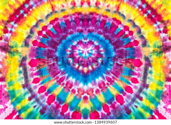 Bright Rainbow Colors Abstract Psychedelic Ice Tie Dye Circular Design Pattern