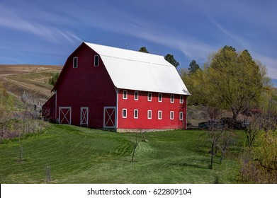 A bright red barn in the Palouse region of eastern Washington.