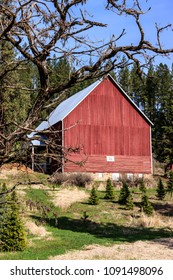 A bright red barn sets back on a little hill in north Idaho.