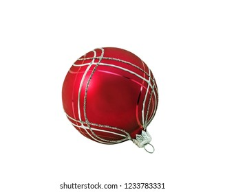 Bright red christmas ball, bauble with ornament lying on white. Isolated.