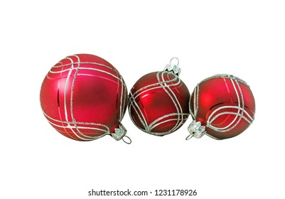 Bright red christmas balls, bauble with ornament lying on white. Isolated.