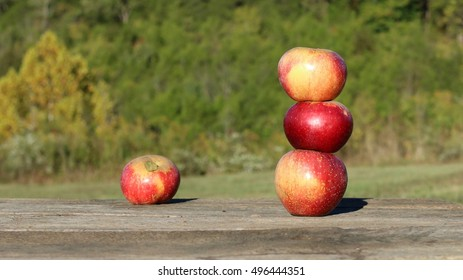 Bright Red Colored Winesap Apples Stacked Up On Each Other On Worn, Wooden Table With Trees And Shrubs Beyond On A Farm In The Mountains Of South West Virginia